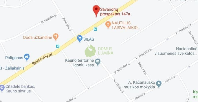 Domus Lumina salono Kaune Savanorių pr. 147A žemėlapis