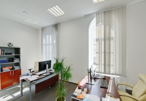 Vertical blinds with Screen fabric in the office