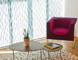 Żaluzje panelowe z linii tkanin znanej artystki Jurate Rekeviciute -  nowoczesny akcent w Twoim wnętrzu
