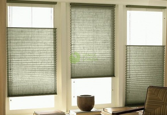 Pleated blinds for standard windows controlled by string for Type of blinds for windows