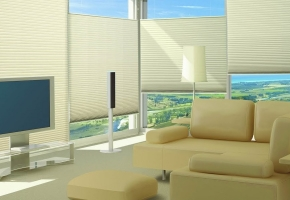 Pleated blinds for standard windows, controlled by handle - type 4