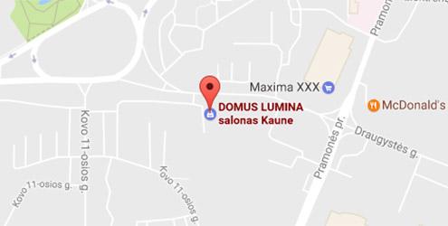 Domus Lumina salono Kaune Draugystės g. 8C žemėlapis