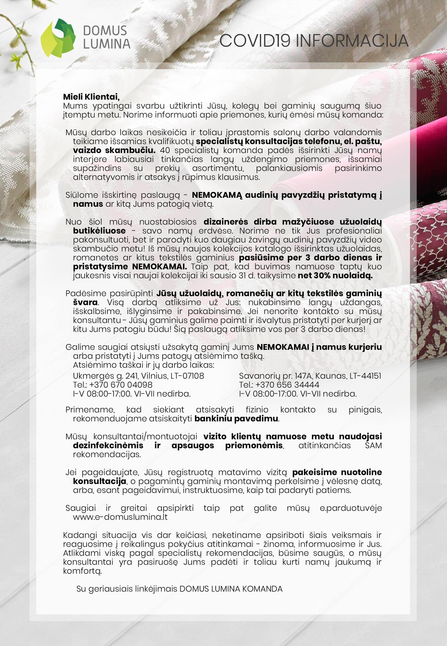 Covid-19 informacija klientams